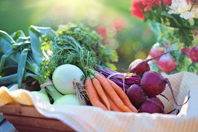 A basket of healthy, colorful produce
